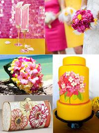 Pink yellow wedding cake dresses cocktails flowers inspiration board.jpeg