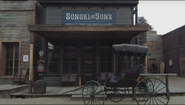 Sweetwater set horse buggy in front of tobacco store