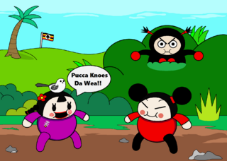 Fan art of Pucca, Ching, and Garu as Ugandans