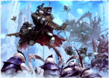 Ferunum Skitarii fight Tyranids invading the Ice-World of Eartarssos
