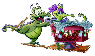Swampy giving Allie a ride on some sort of shopping cart and sled