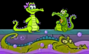 SWAMPY WITH HIS GIRLFRIEND ALLIE AND SWIMMING CRANKY