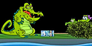 Swampy and Allie playing a prank on Cranky