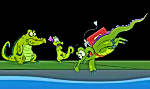 Jetpack Swampy falls as Allie and Cranky watch helplessly