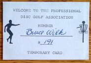 PDGA temporary card