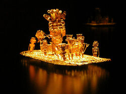 Muisca raft Legend of El Dorado Offerings of gold.jpg