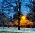 Latarnia i śnieg