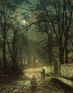 John Atkinson Grimshaw - A Moonlit lane - 1874
