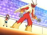 May and her Blaziken in a Pokémon Contest.
