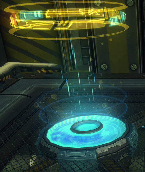 The teleporter in the Relic Room aboard The Gambler's Ruin