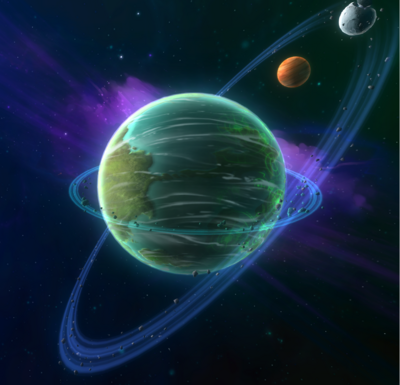 The legendary planet Nexus, with its two moons Pyra (grey), and Halon (red).