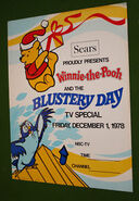 Rare Vintage Winnie the Pooh BLUSTERY DAY Sears NBC Promo Poster Collectors L@@K