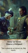 Tw3 gwent card face Emhyr var Emreis Emperor of Nilfgaard