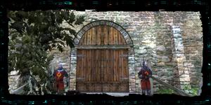 Cancello di Vizima Antica, visto dalla diga