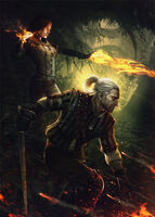 Tw2 promo art geralt and triss