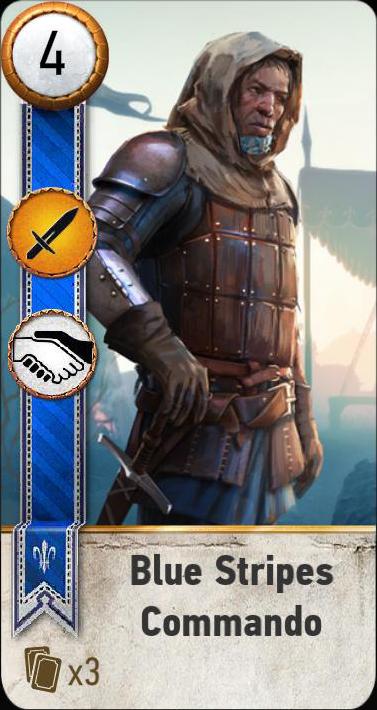 Blue Stripes Commando (gwent card)