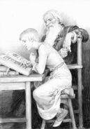 Ciri studying with Vesemir (by Denis Gordeev)