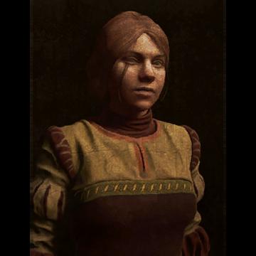 Rotbraune Jungfrau auf schwarzem Grund