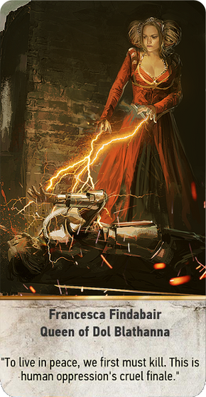 Tw3 gwent card face Francesca Findabair Queen of Dol Blathanna.png