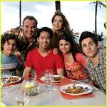 Russo's family with a fan behind the movie