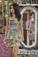 Alex with the comic dress Fashion week