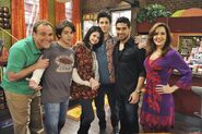 David D., Jake, Selena David H., Wilmer and Maria Uncle Ernesto behind the scenes