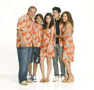 Russo's family with the same print for movie