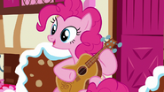 Pinkie Pie greeting Rarity as she approaches S7E9