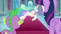 Celestia prances around the throne room S8E7