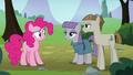Pinkie Pie looks at Maud Pie and Mudbriar S8E3