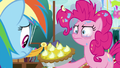 Pinkie Pie forcing yet another pie on Rainbow Dash S7E23
