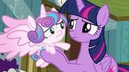 Flurry Heart whiffles her hoof at Twilight S7E3