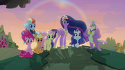 Mane Six and Spike on the hill at sunset S9E26.png
