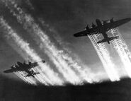 Two B-17 Flying Fortresses inflight, Eastern Europe Circa 1944