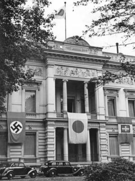 The flags of Germany, Japan, and Italy on the Japanese embassy in Berlin, September 1940.jpg