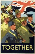 Together Propaganda Poster celebrating joint effort of the British Commonwealth, 1939