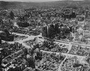 Photo of Stuttgart following a bombing raid, July 26 1944