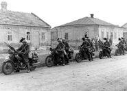 Bersaglieri infantry on motorcycles ride into Donetsk, Operation Barbarossa 1941