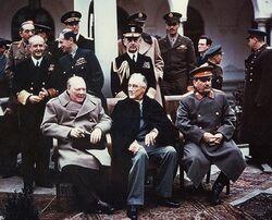 Yalta summit 1945 with Churchill, Roosevelt, Stalin.jpg