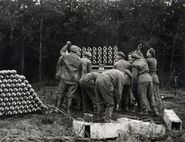 Men of the Canadian 1st Rocket Battery loading a Land Mattress, Circa November 1944, near Breda, the Netherlands