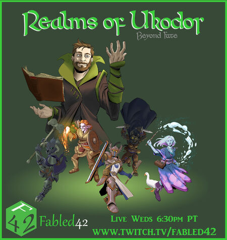 The Realms of Ukodor: Beyond Fate. Image of Chris Solo as the DM floating above the cast of five ready for battle.
