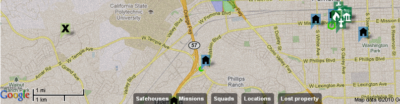 A typical rescue mission, with the nearest squad on the right, and the rescue location 5 miles to its west.