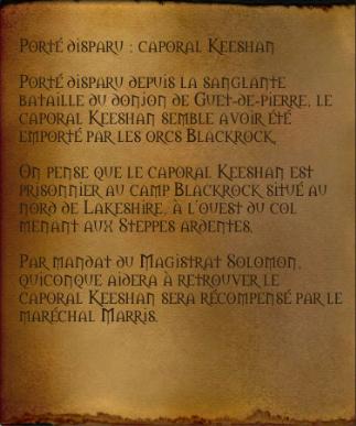 Disparu : caporal Keeshan