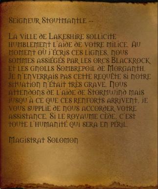 Demande d'aide de Solomon à la marche de l'Ouest