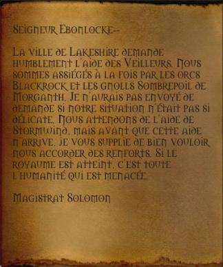 Demande d'aide de Solomon à Darkshire