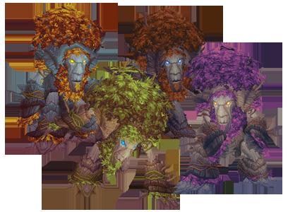 The Troll, Tauren, Worgen, and Night Elf tree forms