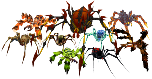 The many species of spider appearing in World of Warcraft