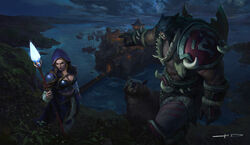 Warcraft III Reforged Jaina and Rexxar art by Stanton Feng.jpg