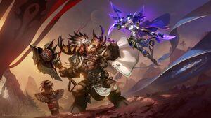 Promotional artwork of a Highmountain tauren battling a void elf