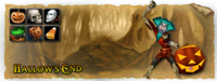 A banner depicting Hallow's End